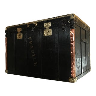 Black Painted Vintage English Trunk For Sale