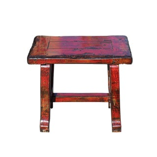 Oriental Zen Ming Style Wood Distressed Red Lacquer Bench For Sale