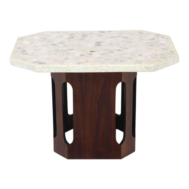 Oiled Walnut Base Terrazzo Top Side Table For Sale - Image 10 of 10