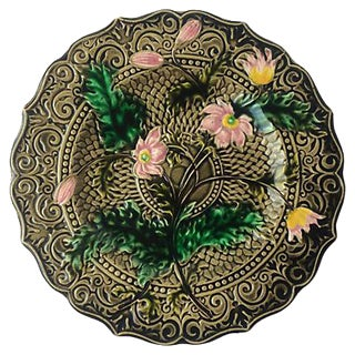 Pink Flower Majolica Plate For Sale