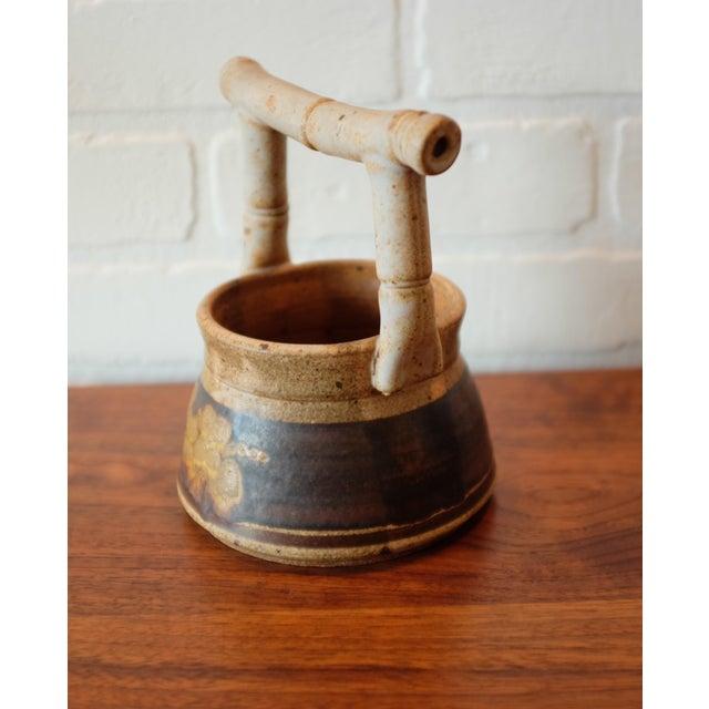Vintage Handmade Floral Studio Pottery Vessel For Sale - Image 4 of 7