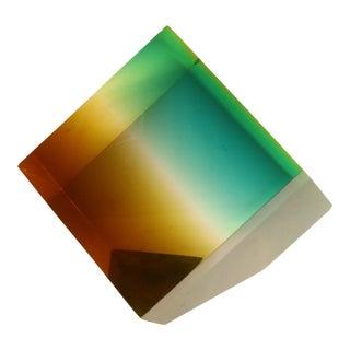 Norman Mercer Attr. Ombré Cube Lucite Sculpture For Sale