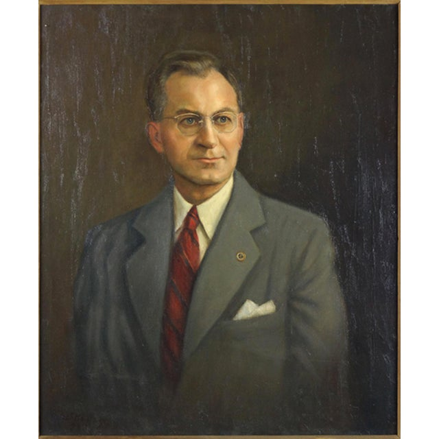 """ARTIST UNKNOWN (AMERICAN, 20TH CENTURY) PORTRAIT OF A MAN. Oil on canvas, signed lower left and dated 1943 30"""" x 25""""..."""
