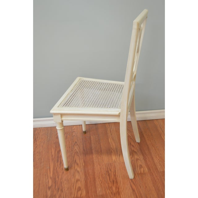 1950s Gustavian Style Painted Lyre Back Dining Chairs With Cane Seat & Linen Seat Cushions - Set of 6 For Sale - Image 5 of 9