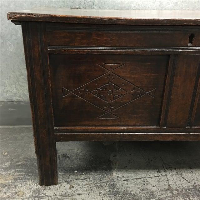 Vintage Oak Carved Chest or Trunk - Image 4 of 9
