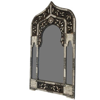 Moroccan White and Black Pointed Top Mirror W/ Bone For Sale