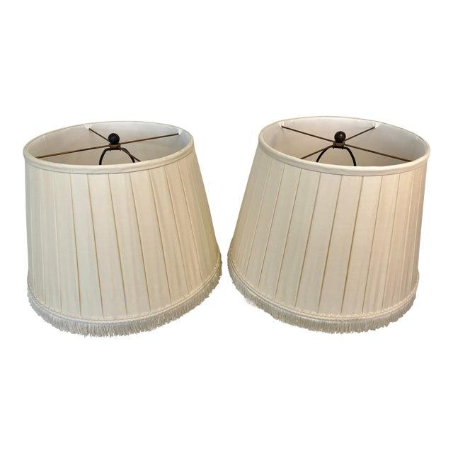 A Pair of Box Pleated Traditional Custom Paul Ferrante Cream Shades For Sale