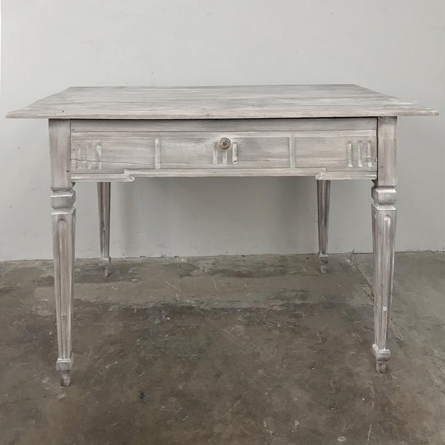 Late 19th Century 19th Century Country French Louis XVI Whitewashed End Table - Writing Table For Sale - Image 5 of 13
