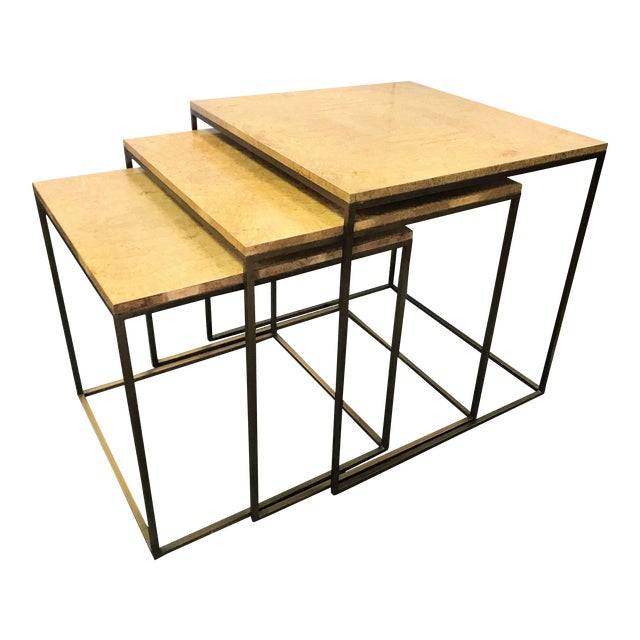 Keno Bros Burled Maple Nesting Tables - Set of 3 For Sale