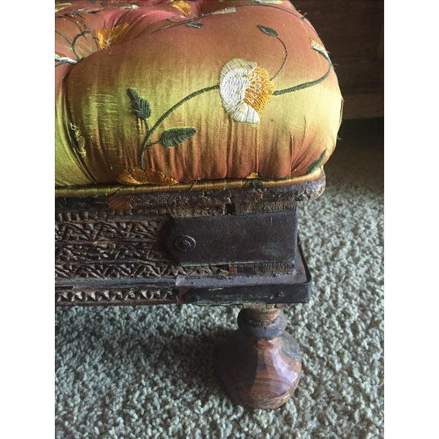 Orange Embroidered Handcarved Ottoman Stool - Image 4 of 11
