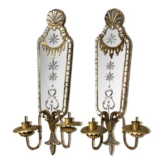 Large 1920s Mirrored Sconces - a Pair For Sale