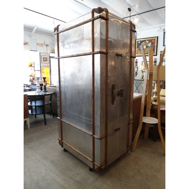 Contemporary Restoration Hardware Steamer Trunk Secretary For Sale - Image 3 of 11