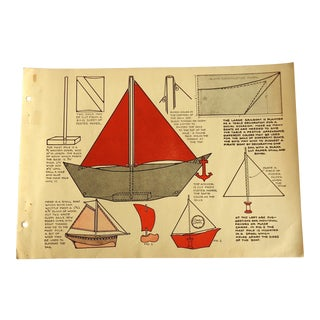 """1930 Art Deco """"Toy Boats"""" Print Character Culture Citizenship Guides For Sale"""