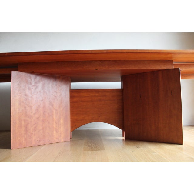 Brown Vintage Custom Usonian Frank Lloyd Wright Taliesin Style Prairie Arts and Crafts Cherry Expanding Dining Table, Seats 8-16+ For Sale - Image 8 of 13