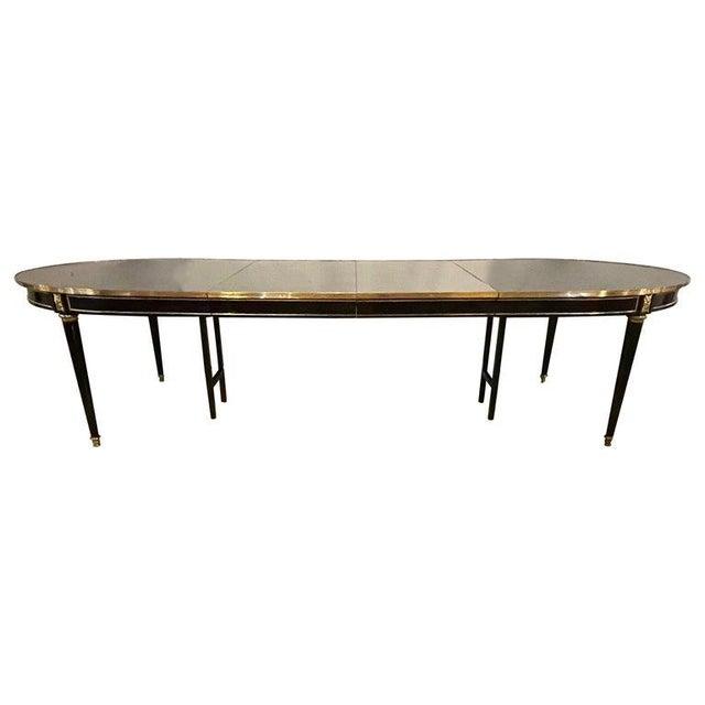 Maison Jansen Ebony Dining Table, Louis XVI Style W Bronze Mounts & Three Leaves For Sale - Image 13 of 13