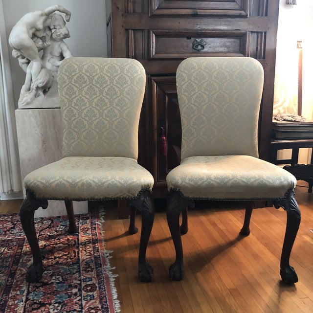 18th Century English Walnut or Mahogany George II Ball & Claw Side Chairs- A Pair For Sale - Image 13 of 13