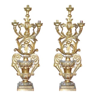 Pair of 18 th Century Gilded Candelabras