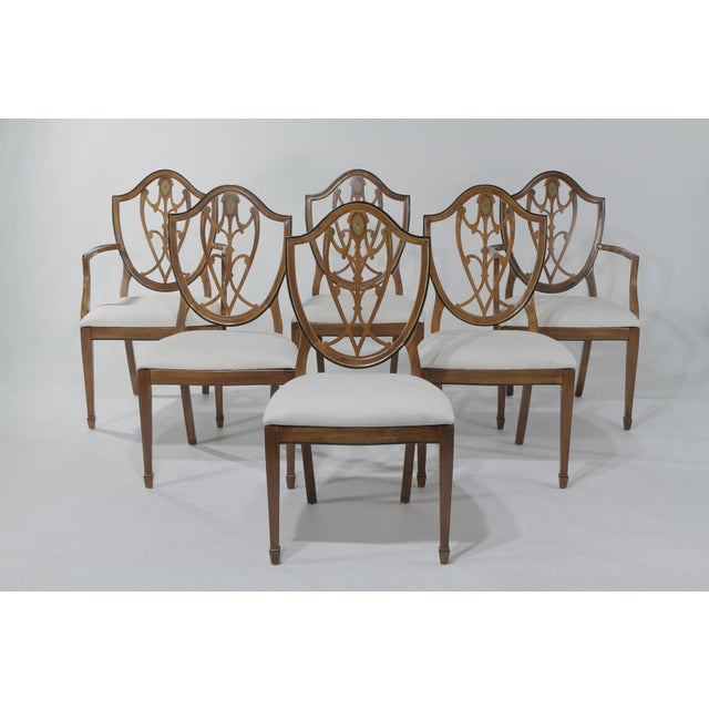 1950s Vintage Shield Back Mahogany Dining Chairs- Set of 6 For Sale - Image 13 of 13