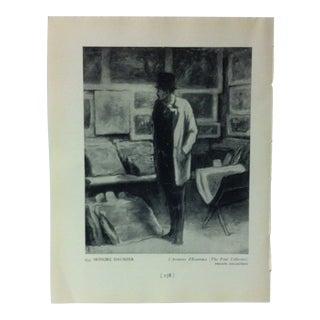 """Circa 1940 """"L' Amateur D' Estampes"""" by Honore Daumier Masterpiece of Art Print For Sale"""