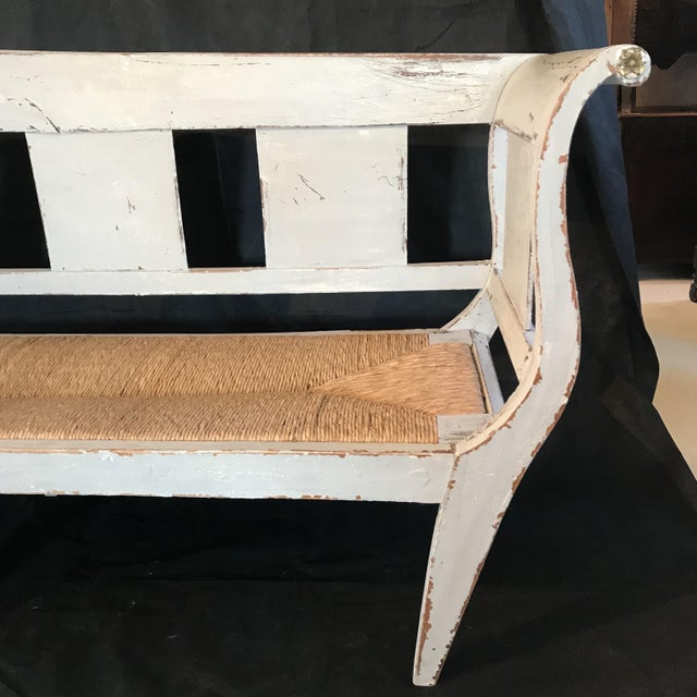 Gustavian Grey Painted Rustic Bench With Original Rush Seat For Sale - Image 12 of 13