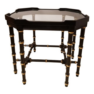 Ebonized Faux Bamboo Turned Coffee Table With Gilt Highlights and a Glass Top For Sale