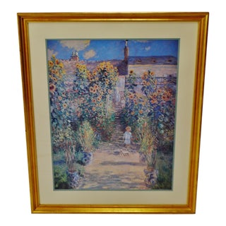 "Vintage Large Framed Claude Monet ""Garden at Vetheuil"" Print For Sale"