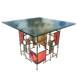 Silas Seandel Style Mixed Metal Nail Brutalist Side Table For Sale