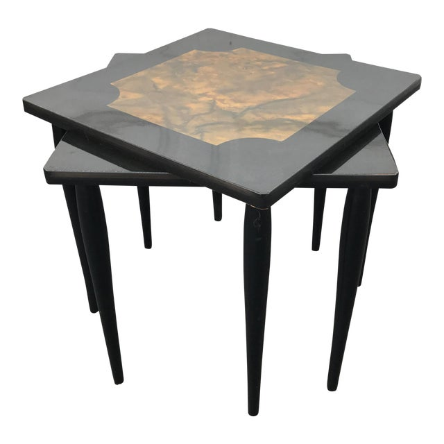Mid-Century Modern Black Stacking Tables - A Pair - Image 1 of 7