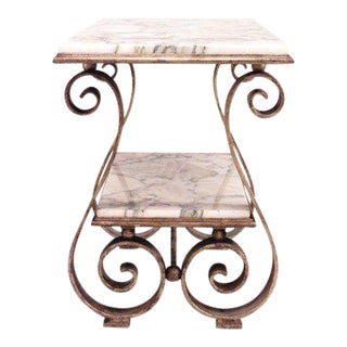 French Art Moderne Gilt Wrought Iron and Marble Low Table For Sale