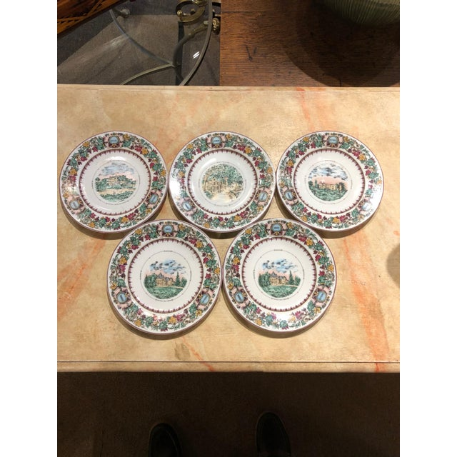 Mid 20th Century Antique Chateau Vineyard-Themed Limoges Cheese and Fruit Plates - Set of 5 For Sale - Image 10 of 10