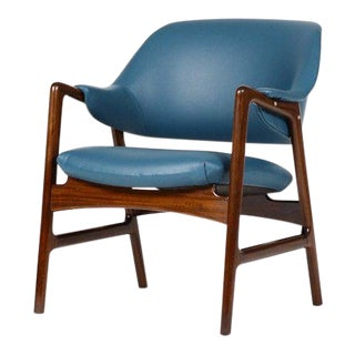 1960s Danish Modern Ingmar Relling for Westnofa Mahogany Framed Lounge Chair For Sale