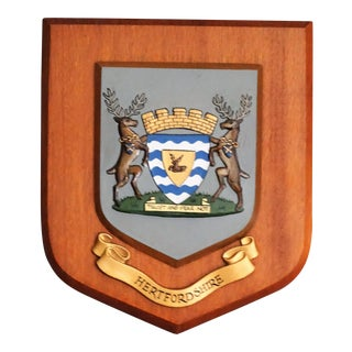 County of Hertfordshire Crested Wall Plaque, England For Sale