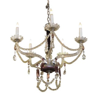 1930s Five Arm Chandelier With Black & Amethyst Crystal Preview