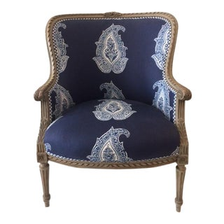 1950s Vintage French Louis XVI Style Batik Fabric Bergere Chair For Sale