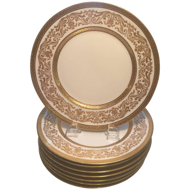 French Gold Encrusted Dinner Plates - Set of 8 For Sale