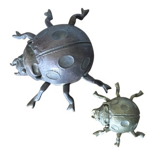 Brass Beetle Ashtrays, Pair For Sale