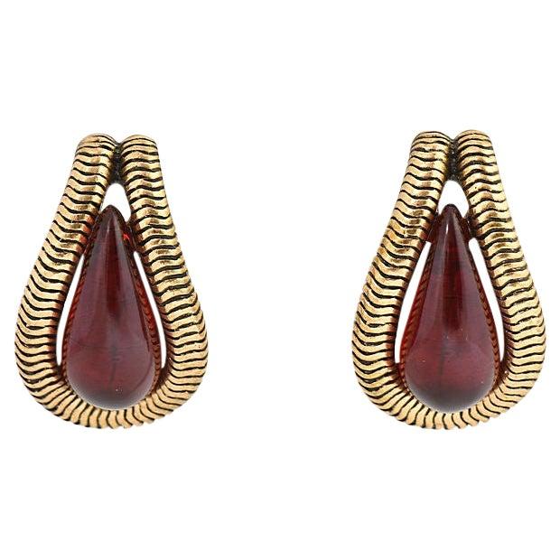 Oscar De La Renta Ruby Red Earrings For Sale