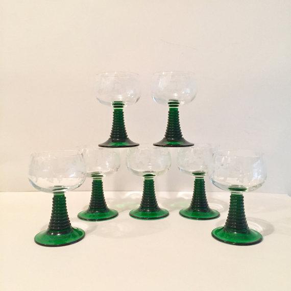 Crystal Roemer Rhine Wine Glasses - Set of 7 - Image 2 of 6
