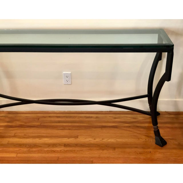Modern Kreiss Luxury Home Iron & Glass Palomino Console Table For Sale - Image 3 of 5