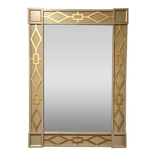 Hickory Chair Modern Gray and Gold Carved Wood Robin Wall Mirror For Sale