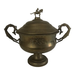 Brass Equestrian Figural Loving Cup For Sale