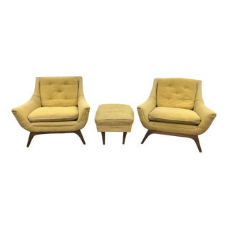Mid-Century Modern Adrian Pearsall Style Chairs - a Pair & Ottoman For Sale