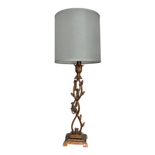Climbing Monkeys Antique Gold Finish Metal Lamp With Blue Shade For Sale