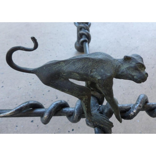 Vintage Wrought Iron Monkeys Coffee Table For Sale - Image 9 of 10