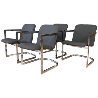 1970s Mid-Century Modern Milo Baughman for d.i.a. Set of Four Chrome Armchairs - Set of 4