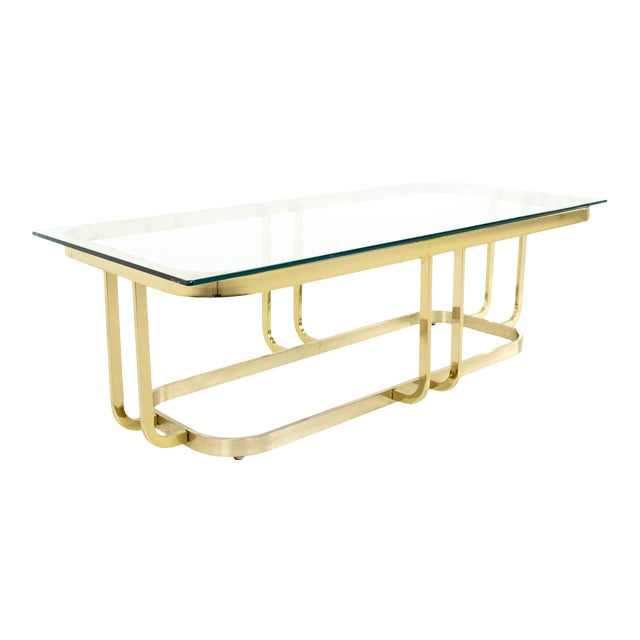 Milo Baughman Style Mid Century Brass and Glass Coffee Table For Sale