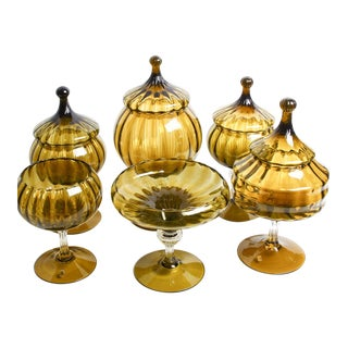 Vintage Empoli Amber / Olive Hand-Blown Glass Apothecary Canister Collection - 10 Piece Set