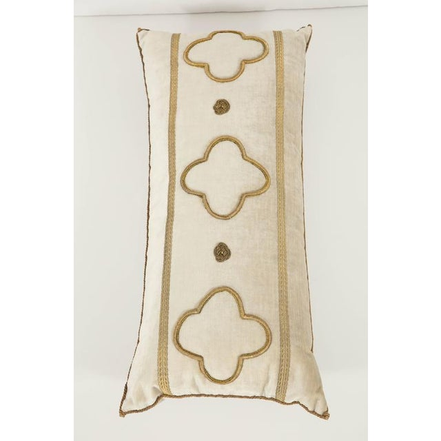 Fabric Long Velvet Embroidered Pillow For Sale - Image 7 of 8