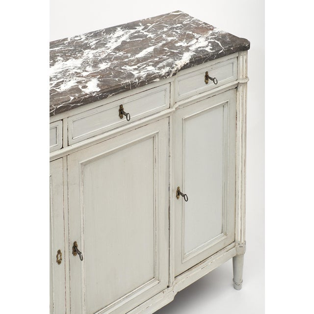 Mid 19th Century Painted Louis XVI Style Buffet With Marble Top For Sale - Image 5 of 11