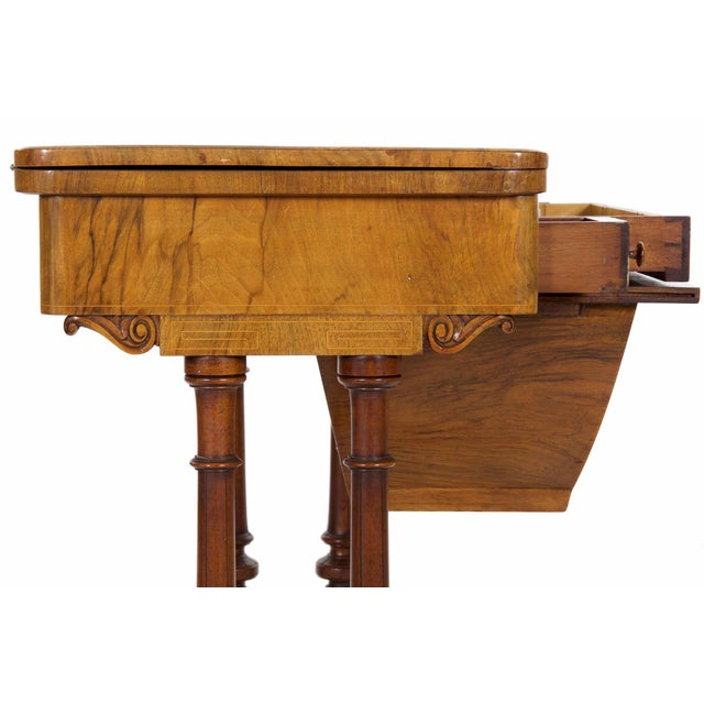 Mid 19th Century Early Victorian Figured Walnut Antique Games and Work Table, Circa 1860-80 For Sale - Image 5 of 13